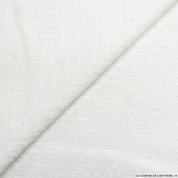 Jacquard polycoton blanc cassé fil irisé