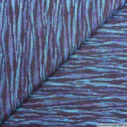 Jacquard polycoton violet et turquoise