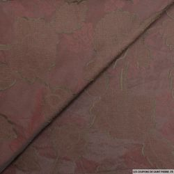 Voile jacquard coton viscose feuilles prune