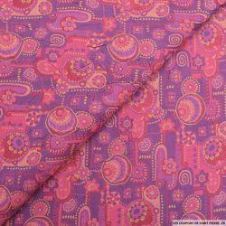 Jacquard polycoton froissé fantaisie violet