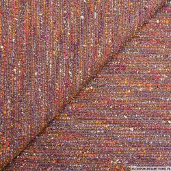 Tweed polyester rayures fantaisie violet et orange
