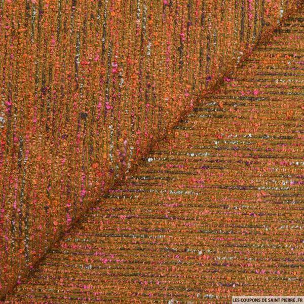 Tweed polyester rayures fantaisie orange et rose