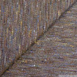 Tweed polyester rayures fantaisie violet et bleu
