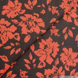 Jacquard laine mélangée bucolique vermillon fond noir