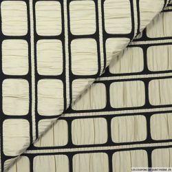Jacquard polyester pellicule photo beige et noir