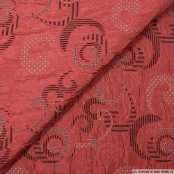 Jacquard polyester arabesque rouge