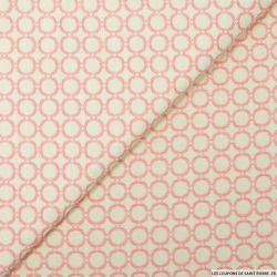Jacquard polycoton cercle rose fond écru