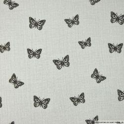 Double gaze gris perle imprimé papillon délavé
