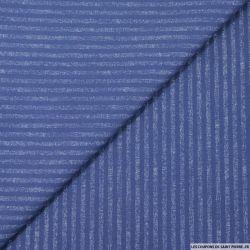Gabardine de coton élasthane rayures bleu chiné