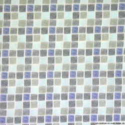 Coton imprimé mosaique bleu