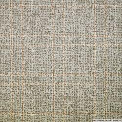 Coton imprimé carreaux fantaisie brique et gris