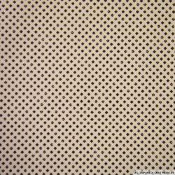 Coton imprimé petits carrés marrons fond écru