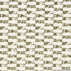 Coton imprimé rectangle kaki graphique
