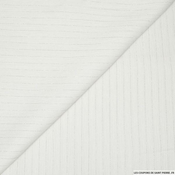 Crépon viscose rayé lurex argent fond blanc