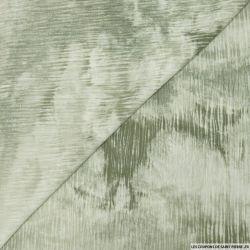 Crépon viscose tie and dye rayé lurex argent fond kaki