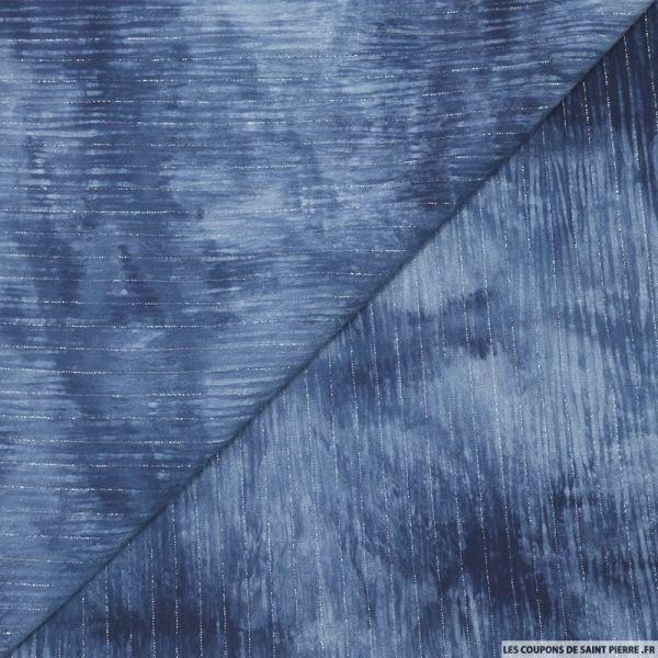 Crépon viscose tie and dye rayé lurex argent fond bleu
