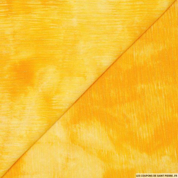 Crépon viscose tie and dye rayé lurex argent fond jaune