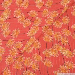 Crépon viscose gypsophile rayé lurex argent fond corail