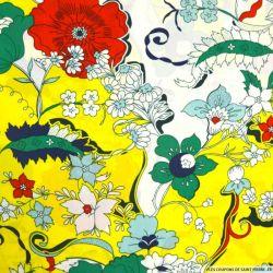Microfibre imprimé florale fond jaune