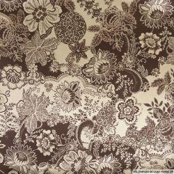 Satin polyester imprimé fleurs or et marron
