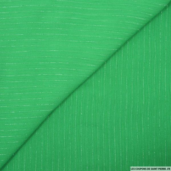 Crépon viscose rayé lurex argent fond vert pomme
