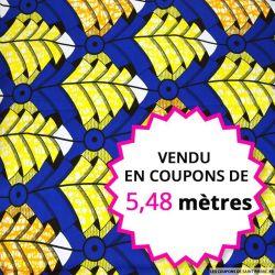 Wax africain pliage fond bleu, vendu en coupon de 5,48 mètres