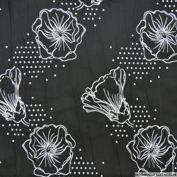 Taffetas polycoton noir et blanc fleurs