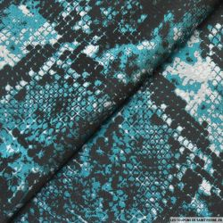 Jacquard polyester reptile bleu canard et argent