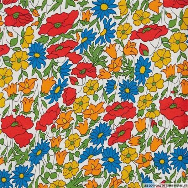 Coton liberty ® Poppy daisy jaune et rouge au mètre