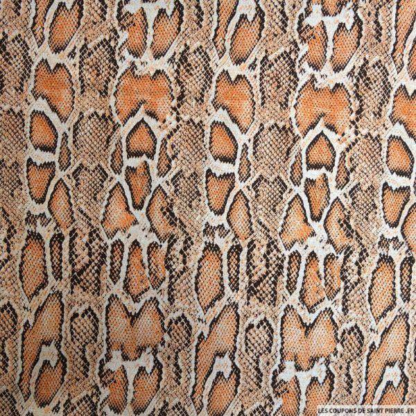 Gabardine imprimé reptile orange et argent