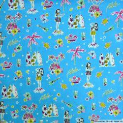 Coton imprimé Aloha fond turquoise