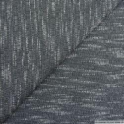 Jacquard polyviscose noir fines rayures blanc