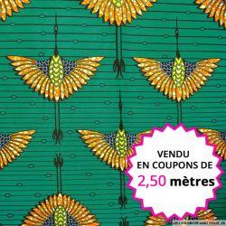 Wax africain oiseau fond vert, vendu en coupon de 2,50 mètres
