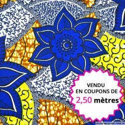 Wax africain jolie fleurs bleues, vendu en coupon de 2,50 mètres