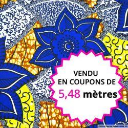 Wax africain jolies fleurs bleues, vendu en coupon de 5,48 mètres