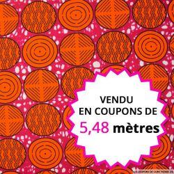 Wax africain cercles oranges fond rose,, vendu en coupon de 5,48 mètres