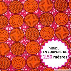 Wax africain cercles oranges fond rose, vendu en coupon de 2,50 mètres