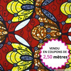 Wax africain abeilles fond bordeaux, vendu en coupon de 2,50 mètres