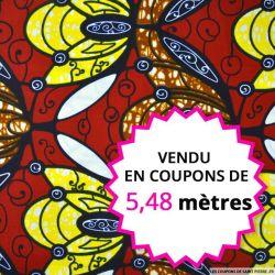 Wax africain abeilles fond bordeaux, vendu en coupon de 5,48 mètres
