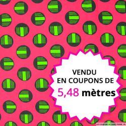 Wax africain cercles verts fond rose, vendu en coupon de 5,48 mètres