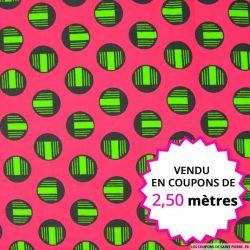 Wax africain cercles verts fond rose, vendu en coupon de 2,50 mètres