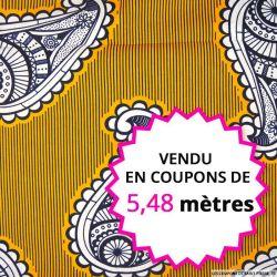 Wax africain cachemire fond orange, vendu en coupon de 5,48 mètres