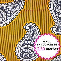 Wax africain cachemire fond orange, vendu en coupon de 2,50 mètres