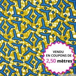 Wax africain feuilles bleues fond kaki, vendu en coupon de 2,50 mètres