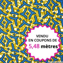 Wax africain feuilles bleues fond kaki, vendu en coupon de 5,48 mètres