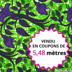 Wax africain botanique violet fond vert, vendu en coupon de 5,48 mètres