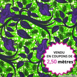 Wax africain botanique violet fond vert,  vendu en coupon de 2,50 mètres