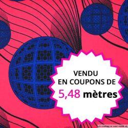 Wax africain planètes bleues fond rose, vendu en coupon de 5,48 mètres