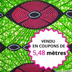 Wax africain apache fuchsia fond vert, vendu en coupon de 5,48 mètres