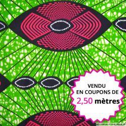 Wax africain apache fuchsia fond vert, vendu en coupon de 2,50 mètres
